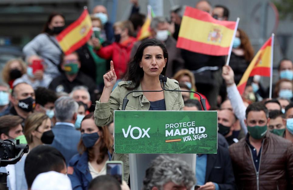 La candidata de Vox a la presidencia de la Comunidad de Madrid, Rocío Monasterio, durante un acto de la campaña para las elecciones del 4 de mayo. EFE/Kiko Huesca