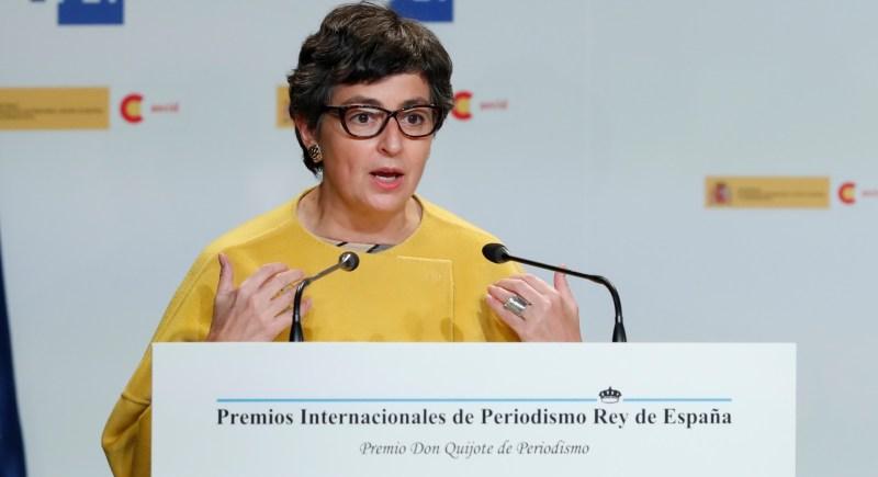 La ministra de Exteriores, Arancha González Laya, en la entrega de los Premios de Periodismo Rey de España. EFE/Chema Moya