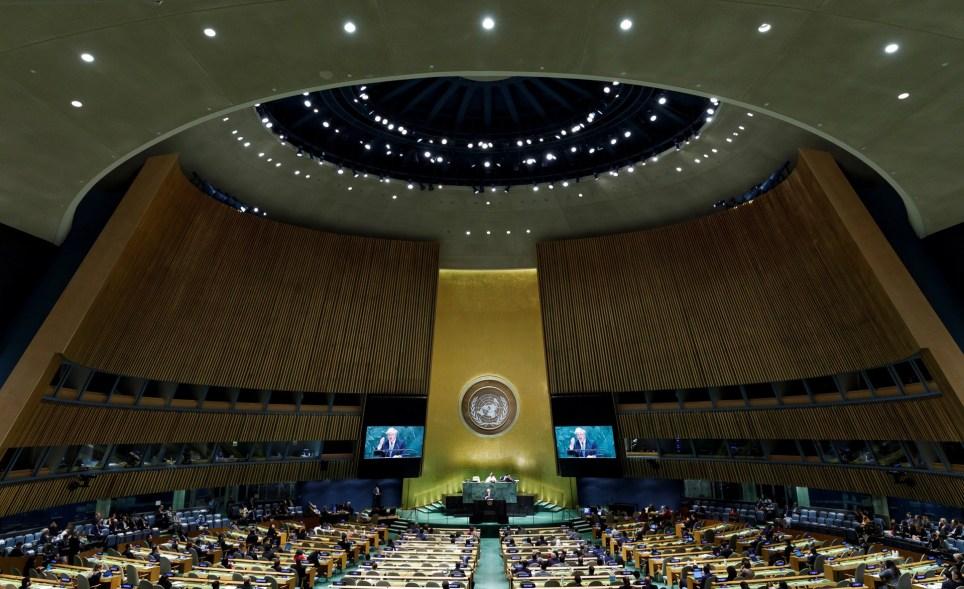 El primer ministro británico, Boris Johnson, interviene en el debate general de la 74 sesión de la Asamblea General de las Naciones Unidas en Nueva York en septiembre de 2019. EFE/EPA/Justin Lane.