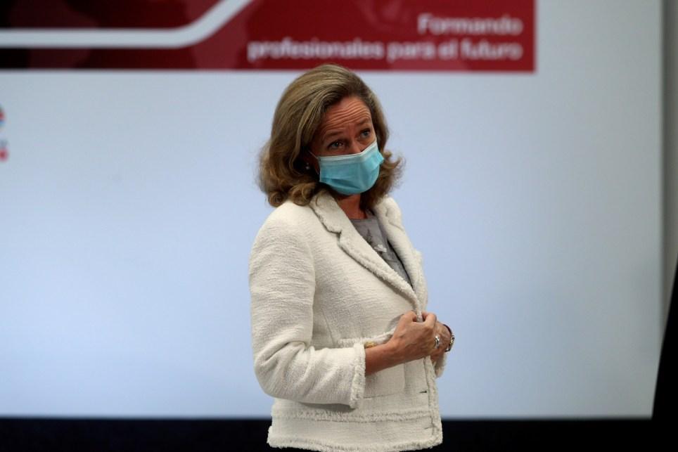 La vicepresidenta tercera y ministra de Economía, Nadia Calviño, en la presentación de un plan de Formación Profesional. EFE/ Rodrigo Jiménez