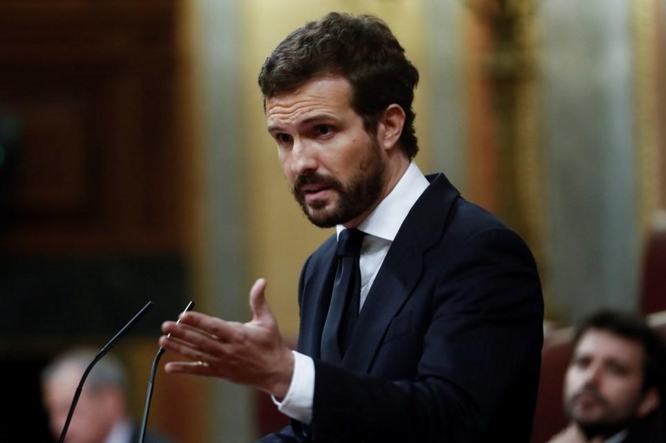 El líder del Partido Popular, Pablo Casado, durante una intervención en el pleno del Congreso. EFE/Mariscal.