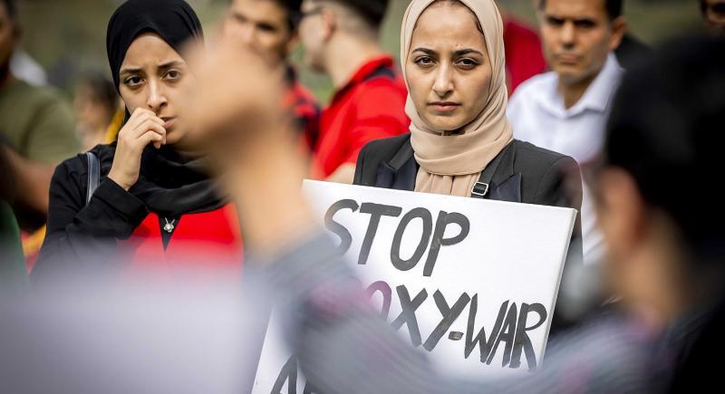 Protesta contra el nuevo régimen talibán afgano organizada en la ciudad holandesa de Rotterdam. EFE/EPA/Remko de Waal
